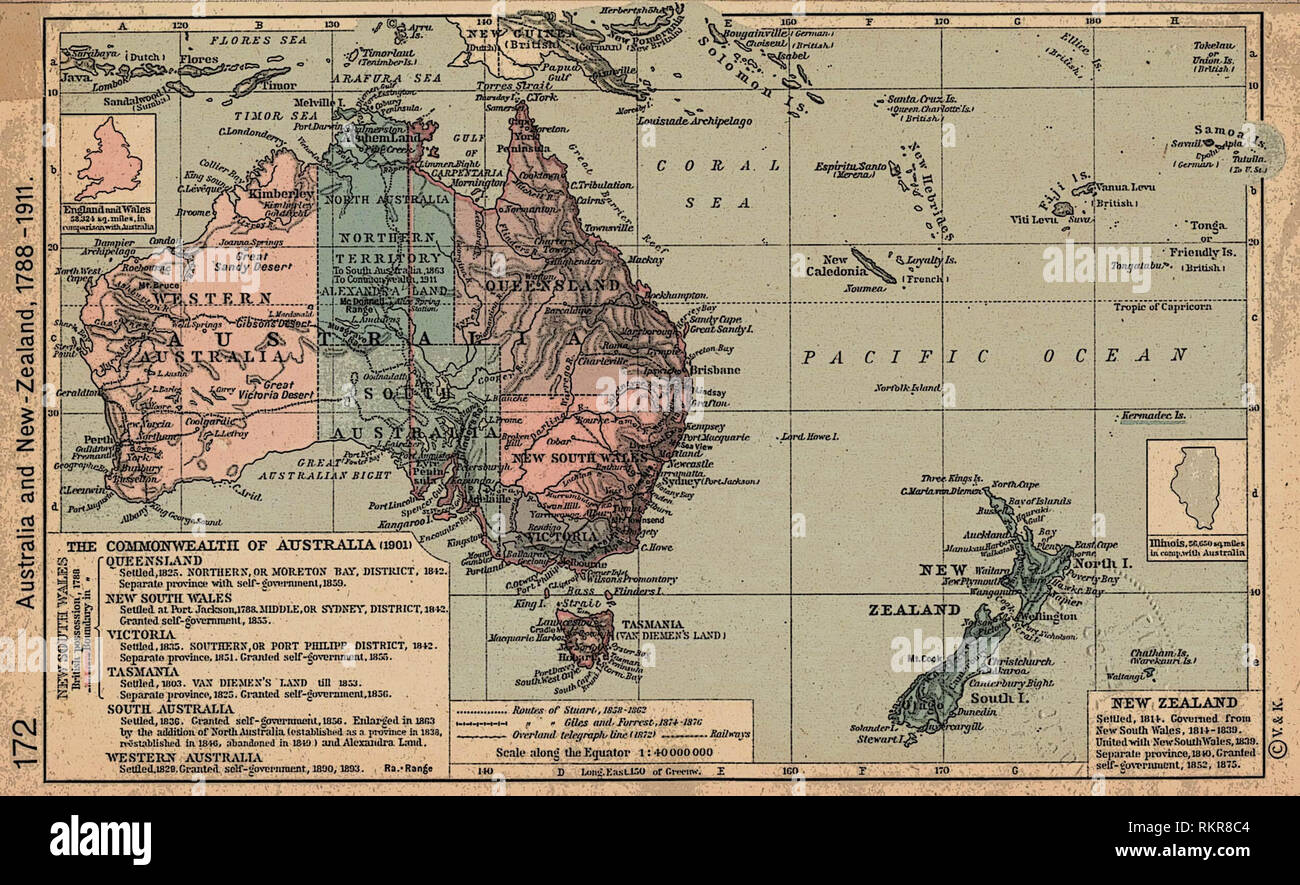 Historical map of Australia and New Zealand, 1788–1911 Stock ...