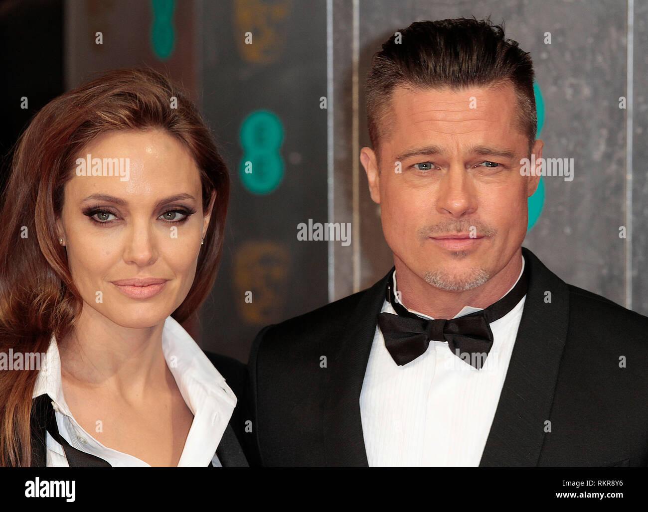 Angelina Jolie and Brad Pitt arrive at the 2014 British Academy Film Awards (BAFTA) at The Royal Opera House, Covent Garden Stock Photo