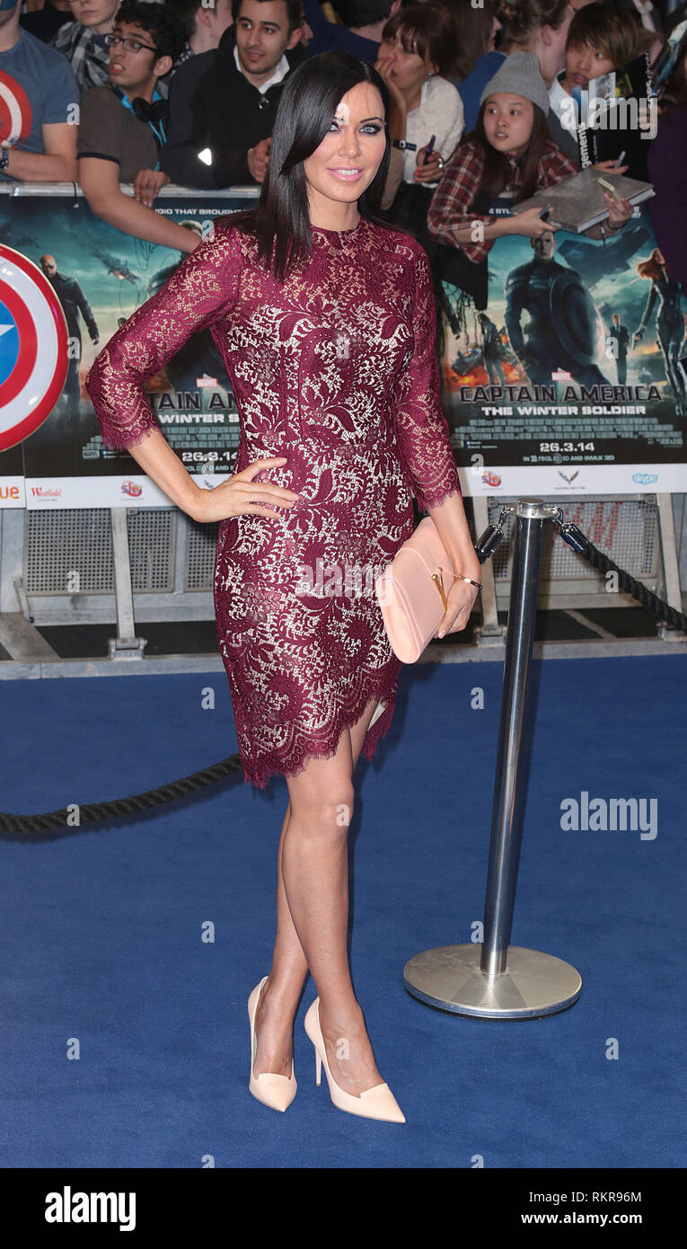 Linzi Stoppard arrives at the UK Premiere of Captain America: The Winter Soldier at Vue Cinema in Westfield Shopping Centre in London - Stock Image