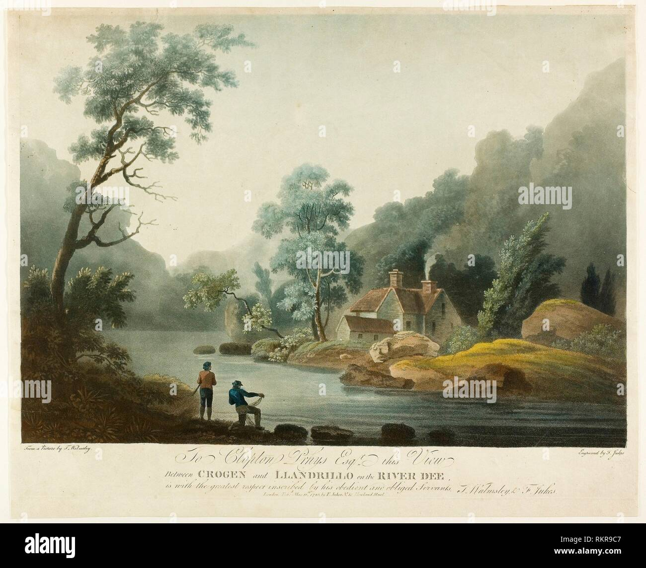 Between Crogen & Llandrillo on the R. Dee - published 1793 - Francis Jukes English, 1745-1812 - Artist: Francis Jukes, Origin: England, Date: 1793, Stock Photo