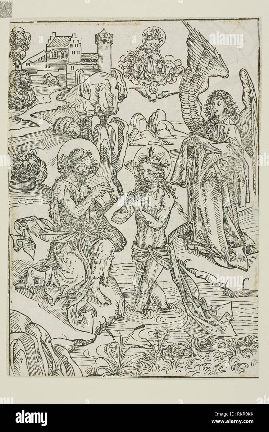The Baptism of Christ (verso); The Circumcision of Christ (recto), pages 34 and 33, from the Treasury (Schatzbehalter) - 1491 - Michael Wolgemut and - Stock Image