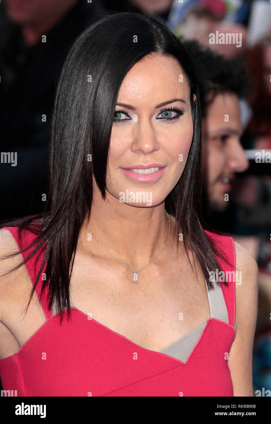 Linzi Stoppard arrives at the UK Premiere of 'X-Men: Days Of Future Past' at Odeon Leicester Square in London, England - Stock Image
