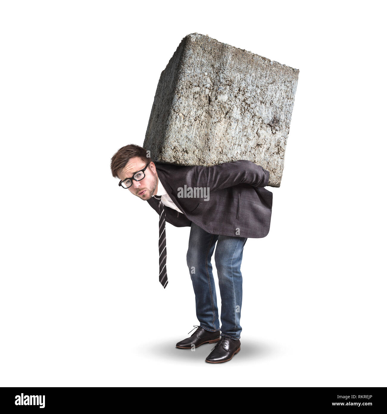 Businessman carrying a large and heavy stone on his back - Stock Image