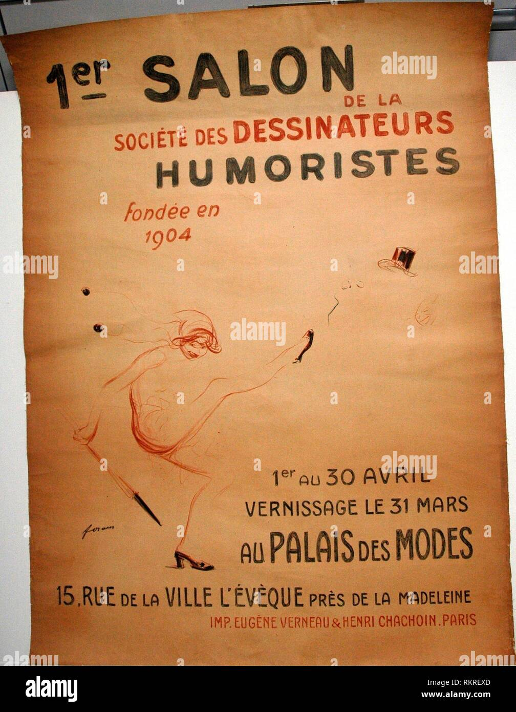 1st Exhibition of the Humorists - 1911 - Jean Louis Forain (French, 1852-1931) Printed by Eugene Verneau & Henri Chachoin - Artist: Jean Louis - Stock Image