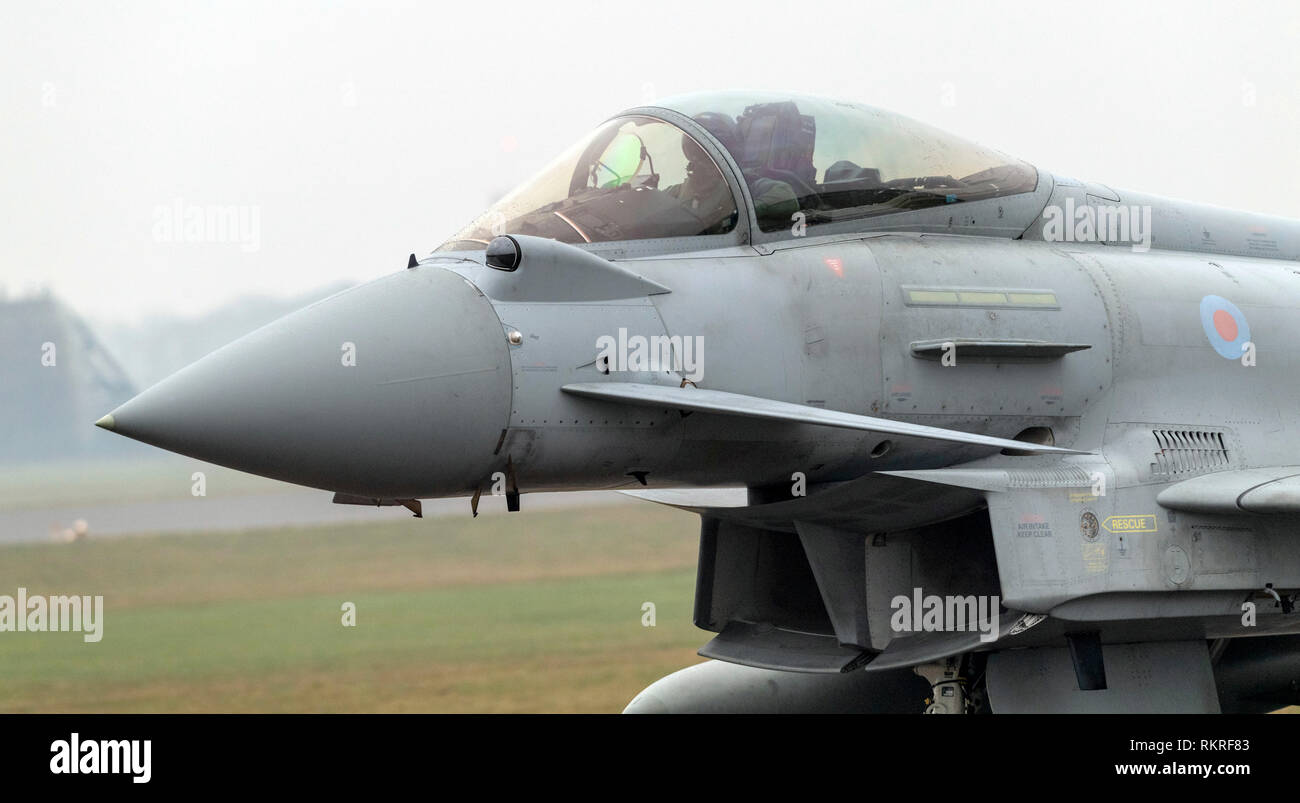 Typhoon at RAF Coninsby taxying on runway for take off position - Stock Image