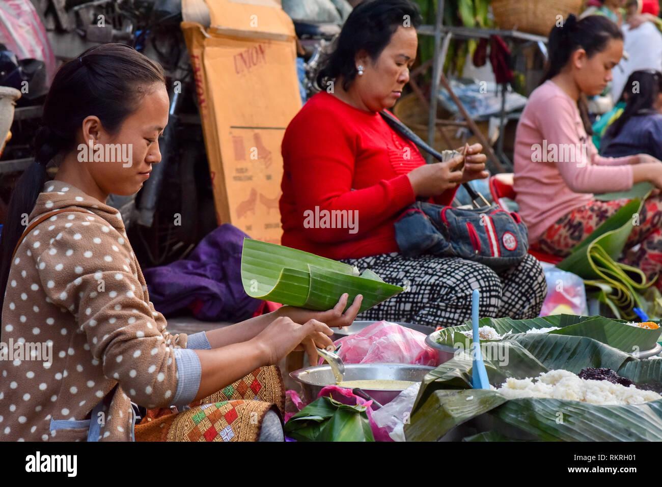 Morning Food Market Luang Prabang - Stock Image