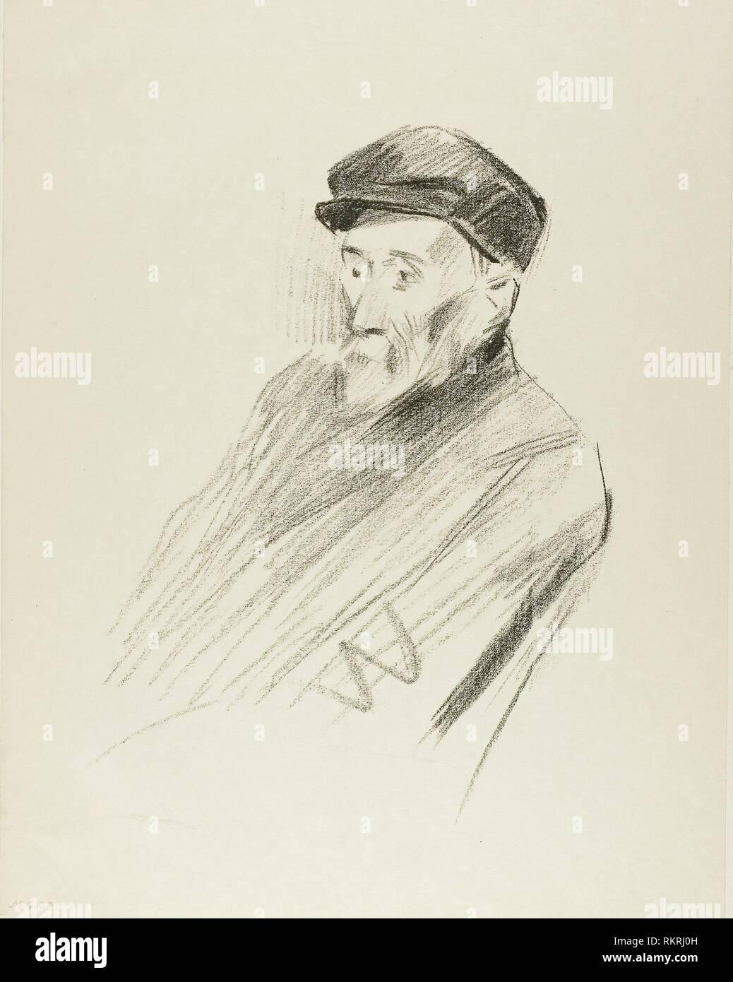 Portrait of Renoir, Third Plate - 1905 - Jean Louis Forain French, 1852-1931 - Artist: Jean Louis Forain, Origin: France, Date: 1905, Medium: - Stock Image