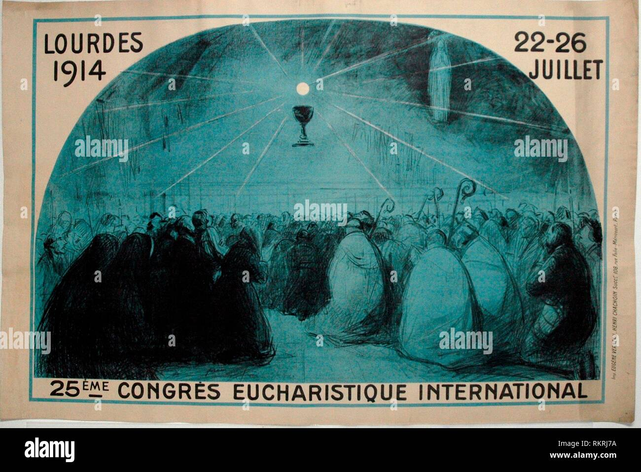 Lourdes, 1914, 25th International Eucharistic Congress - 1914 - Jean Louis Forain (French, 1852-1931 Printed by Eugene Verneau & Henri Chachoin - - Stock Image