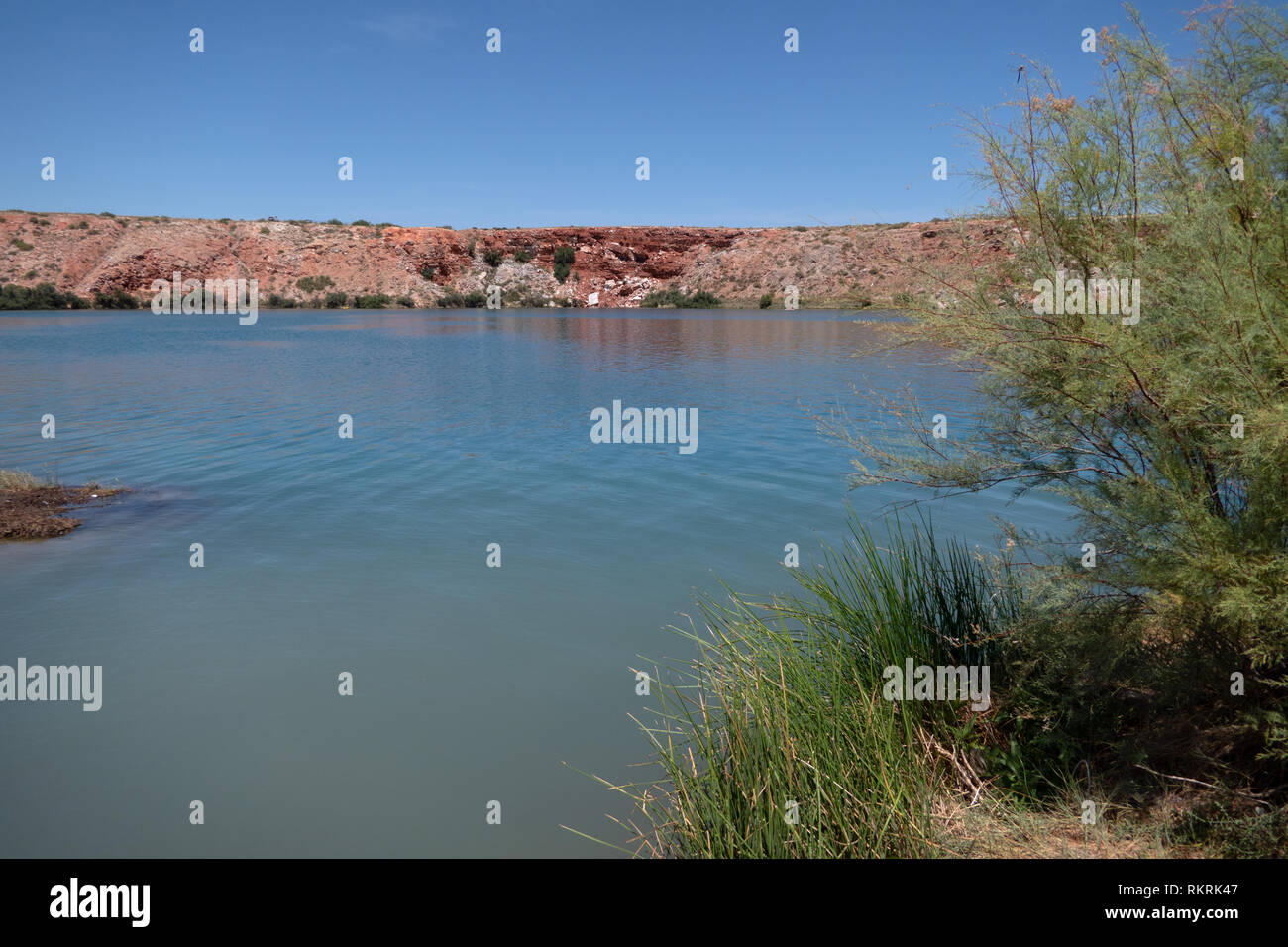 Lea Lake at Bottomless Lakes State Park in New Mexico, southeast of Roswell, United States of America. View of beautiful American park and nature - Stock Image
