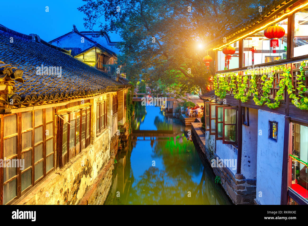 Zhouzhuang, China is a famous water town in the Suzhou area. There are many ancient towns in the south of the Yangtze River. Stock Photo