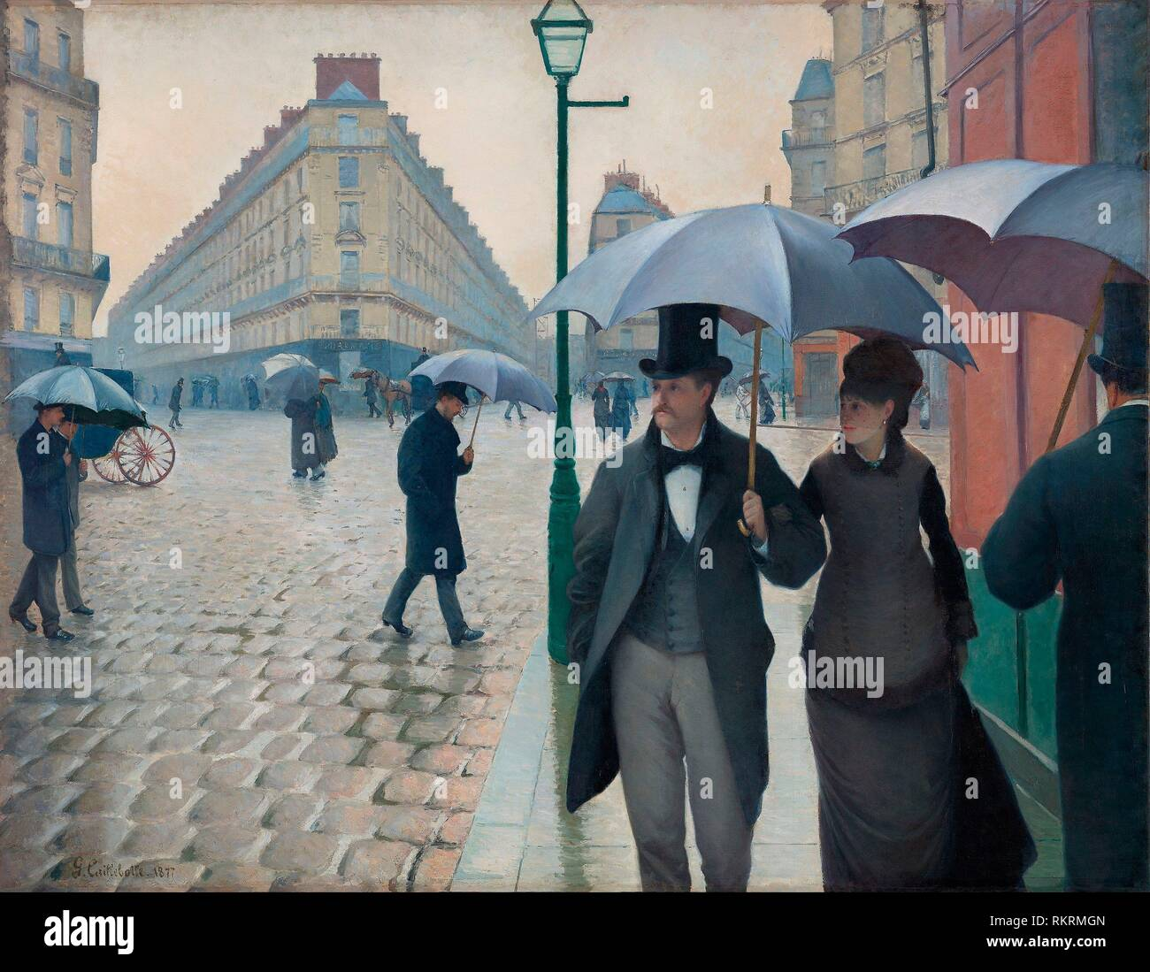 Paris Street; Rainy Day - 1877 - Gustave Caillebotte (French, 1848-1894) - Artist: Gustave Caillebotte, Origin: Paris, Date: 1877, Medium: Oil on - Stock Image