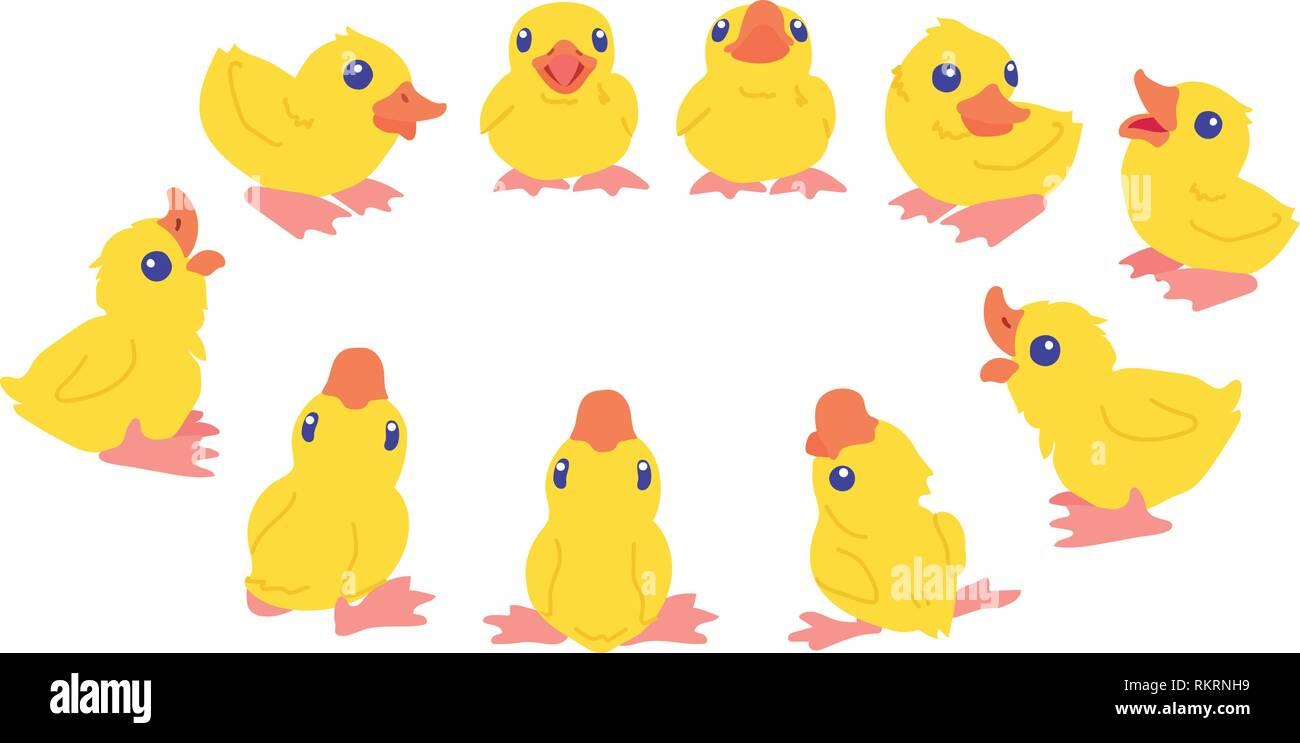 vector cartoon animal clipart cute little duckling - Stock Vector