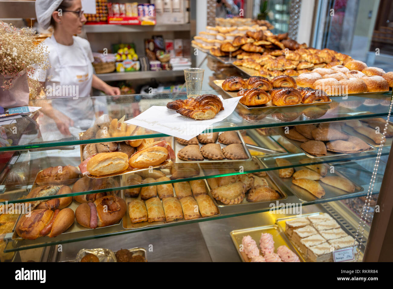 Cakes And Pastries On Display In A Bakery Shop In The City Of