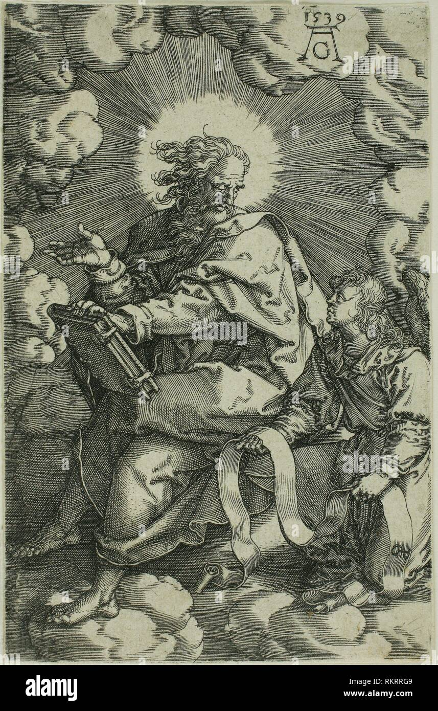 Matthew, from The Four Evangelists - 1539 - Heinrich Aldegrever (German, 1502-c. 1560) after Georg Pencz (c. 1500-1550) - Artist: Heinrich - Stock Image