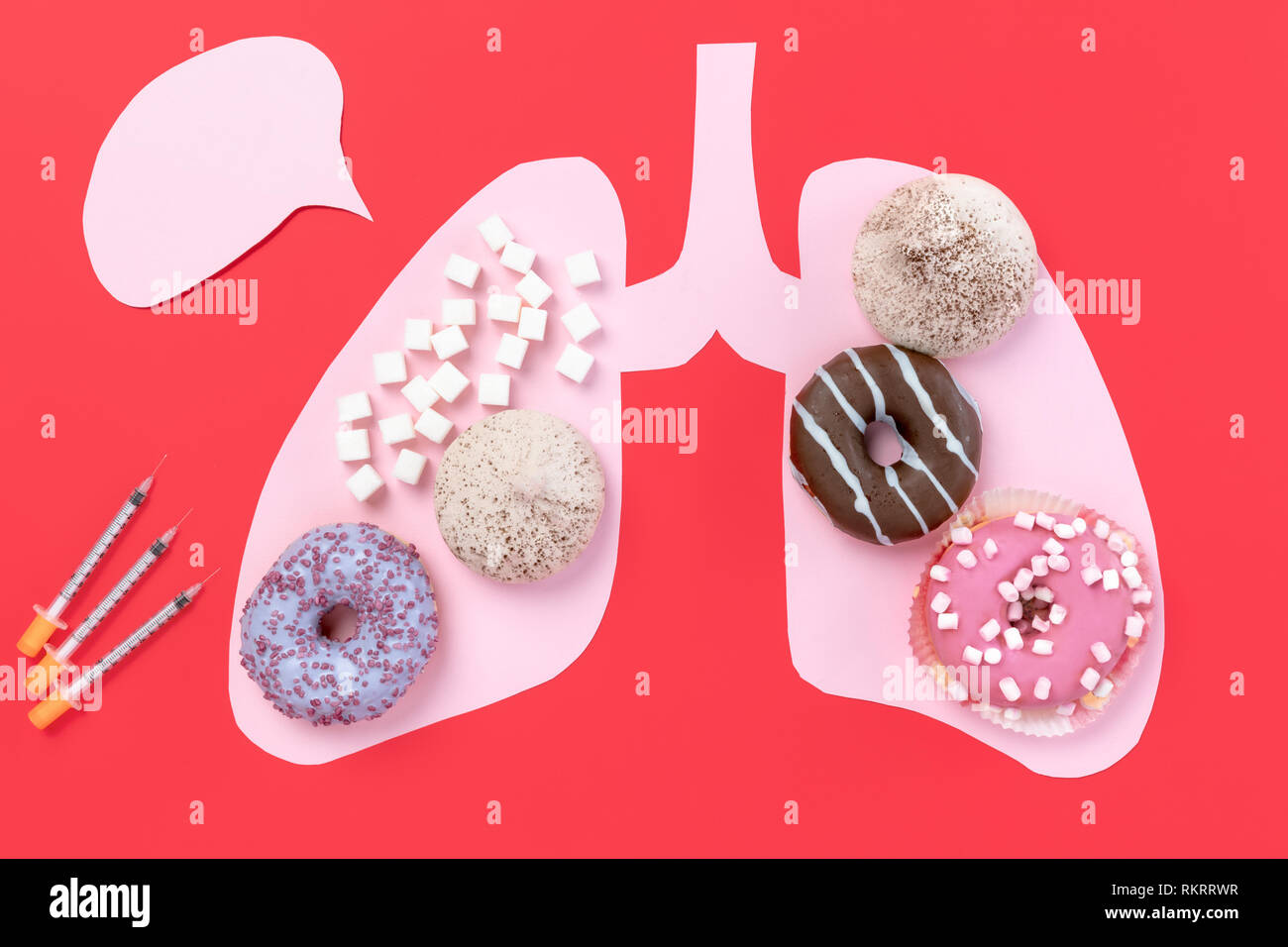 Diabetes concept. Sugar in lungs on pink background. Cholesterol diet and healthy food nutrition, world day. Conceptual composition with copyspace - Stock Image