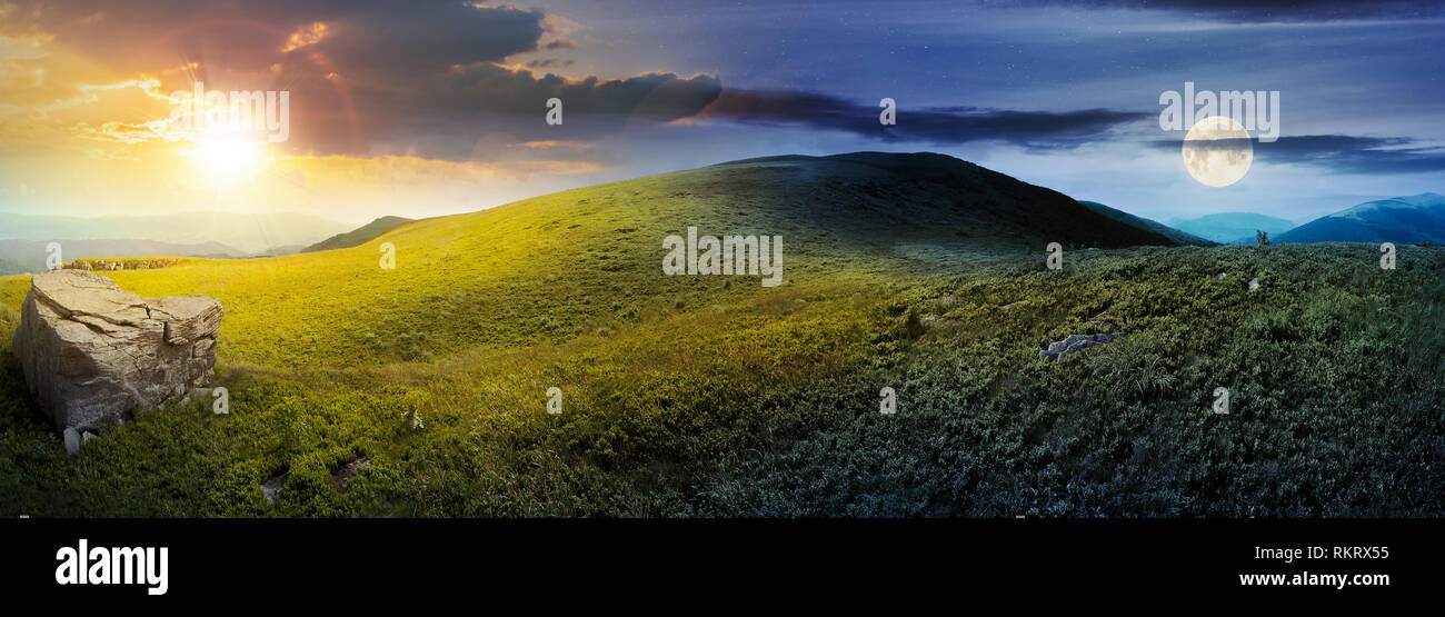 day and night time change concept above panorama of grassy hill with rock. beautiful summer landscape with sun and moon. amazing nature scenery. drama - Stock Image