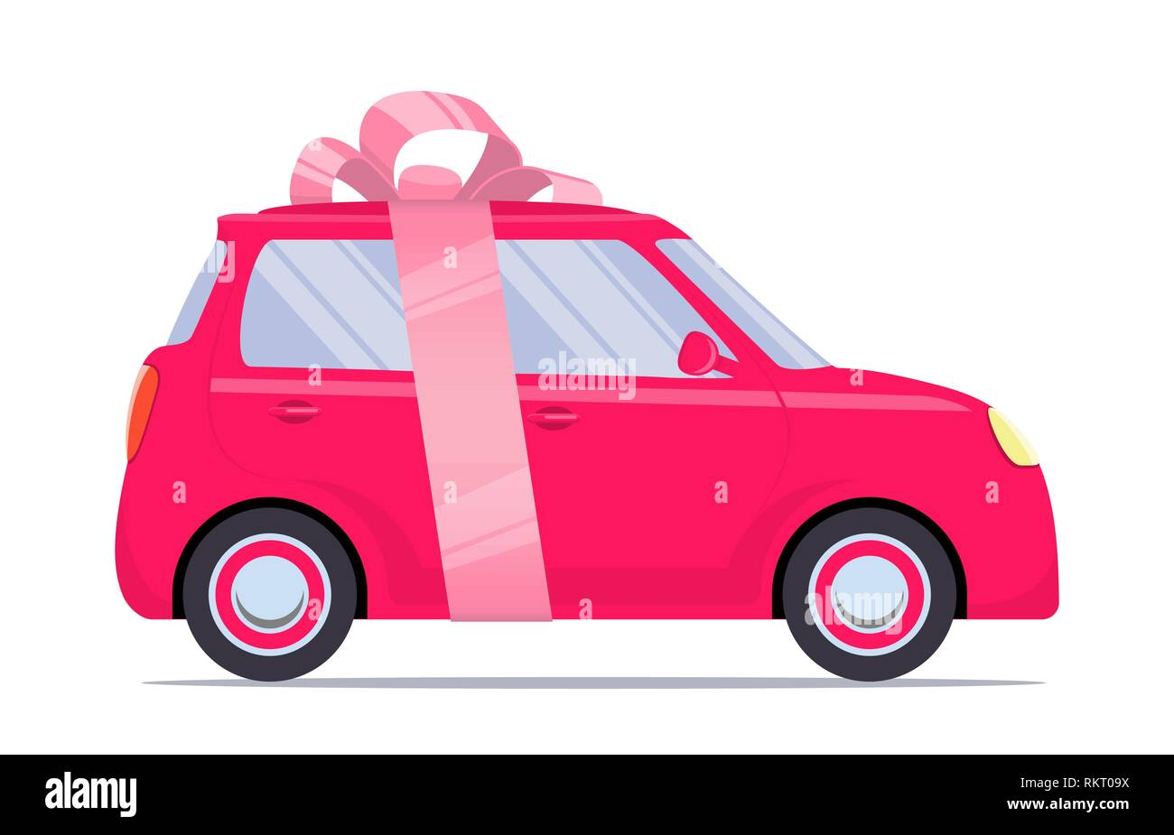 Cute little car as a gift, with pink ribbon and bow. Vector flat illustration, isolated Stock Vector
