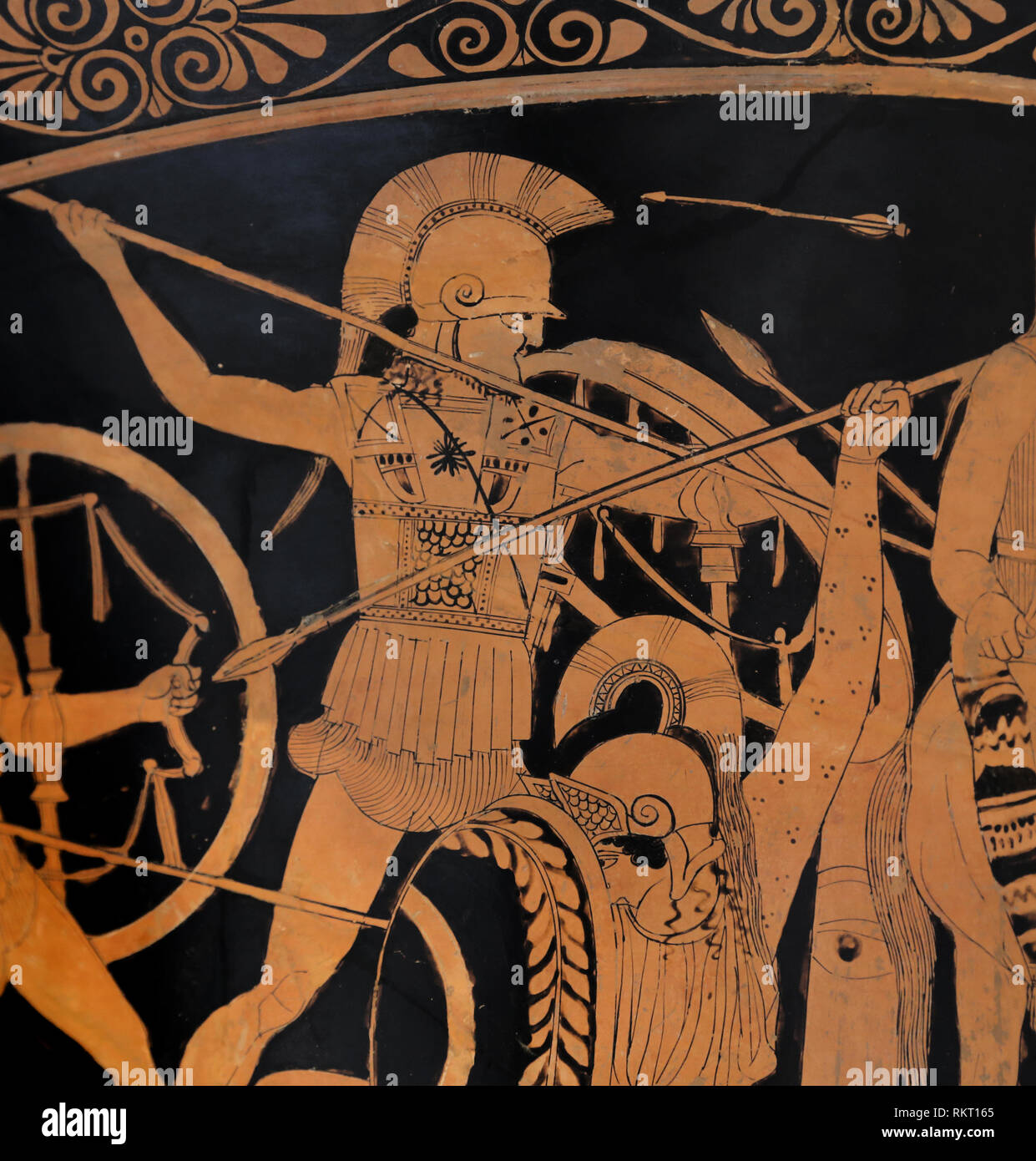 Terracota calyx-krater. Greek, Attic, red-figure. 460-450 BC. Paitenter of the Berlin Hydria. Amazonomachy. The Met. NY, USA - Stock Image
