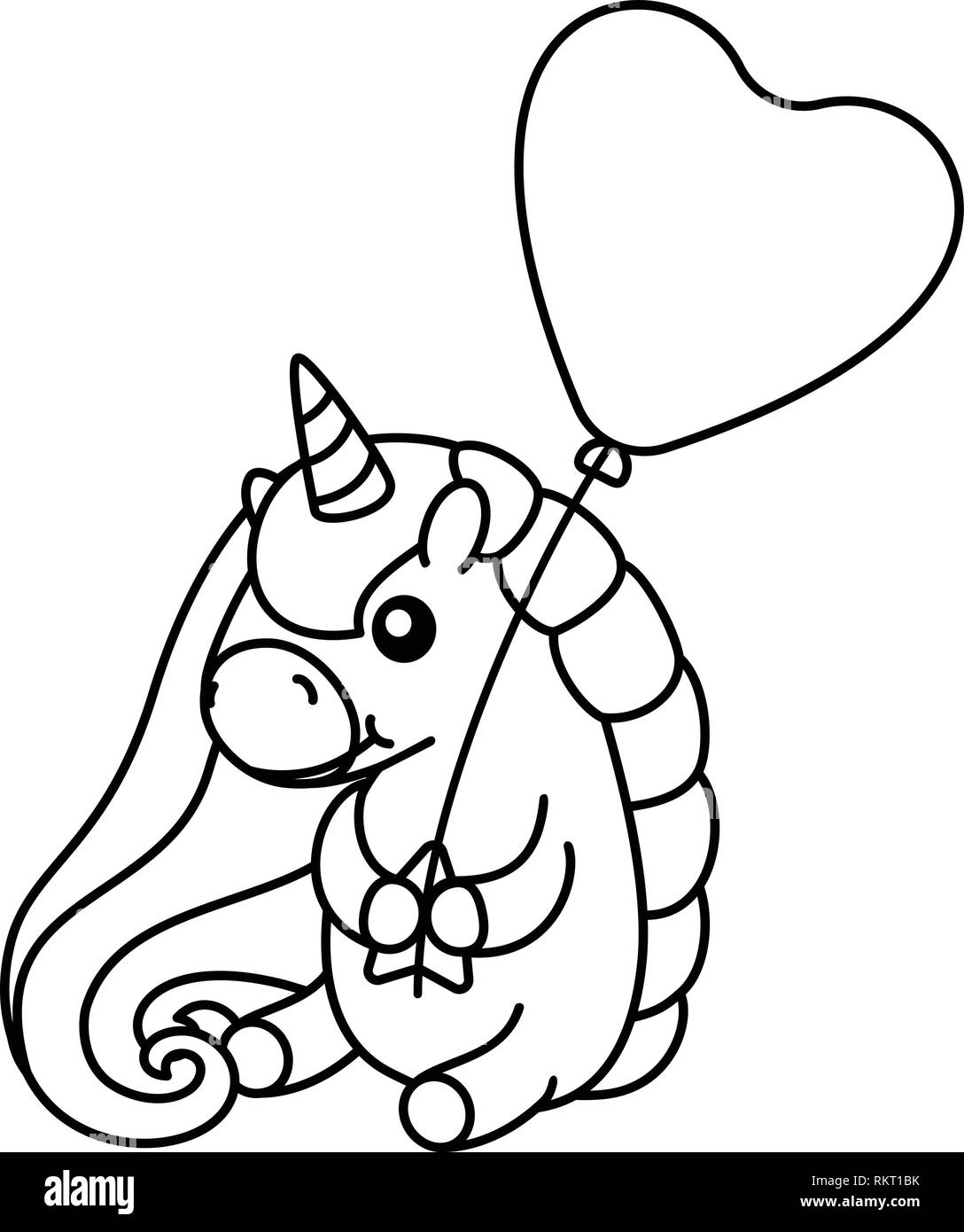 Vector Cute Baby Unicorn Kids Coloring Book Page Stock Vector Art
