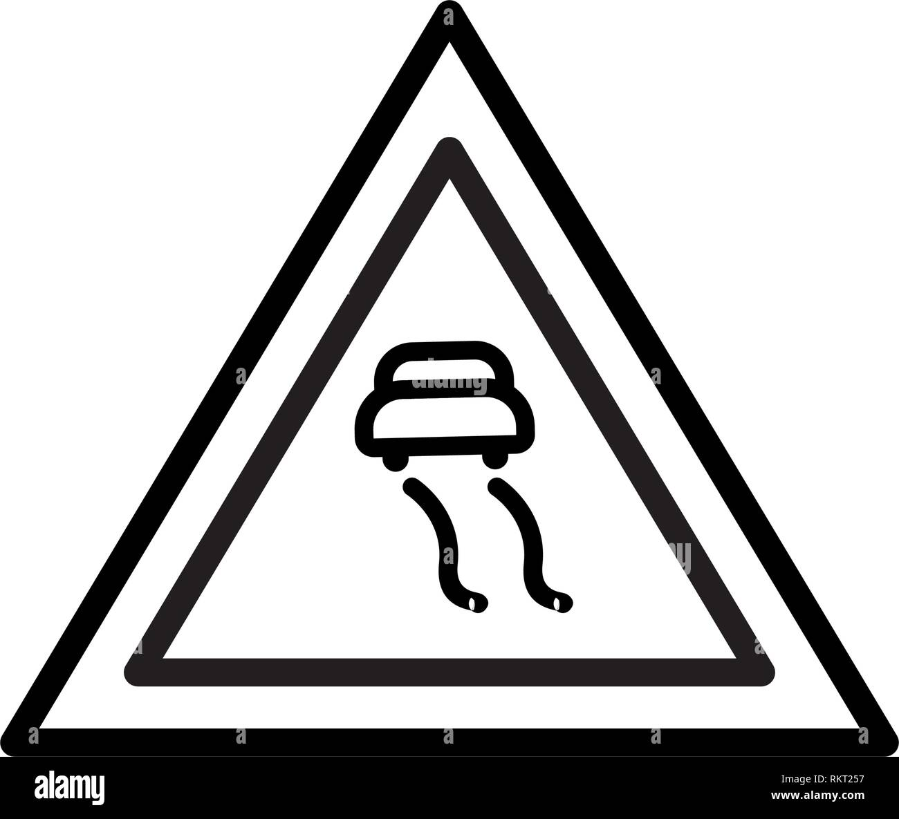 Vector Slippery roads Icon Sign Icon Vector Illustration For Personal And Commercial Use... Clean Look Trendy Icon... - Stock Image