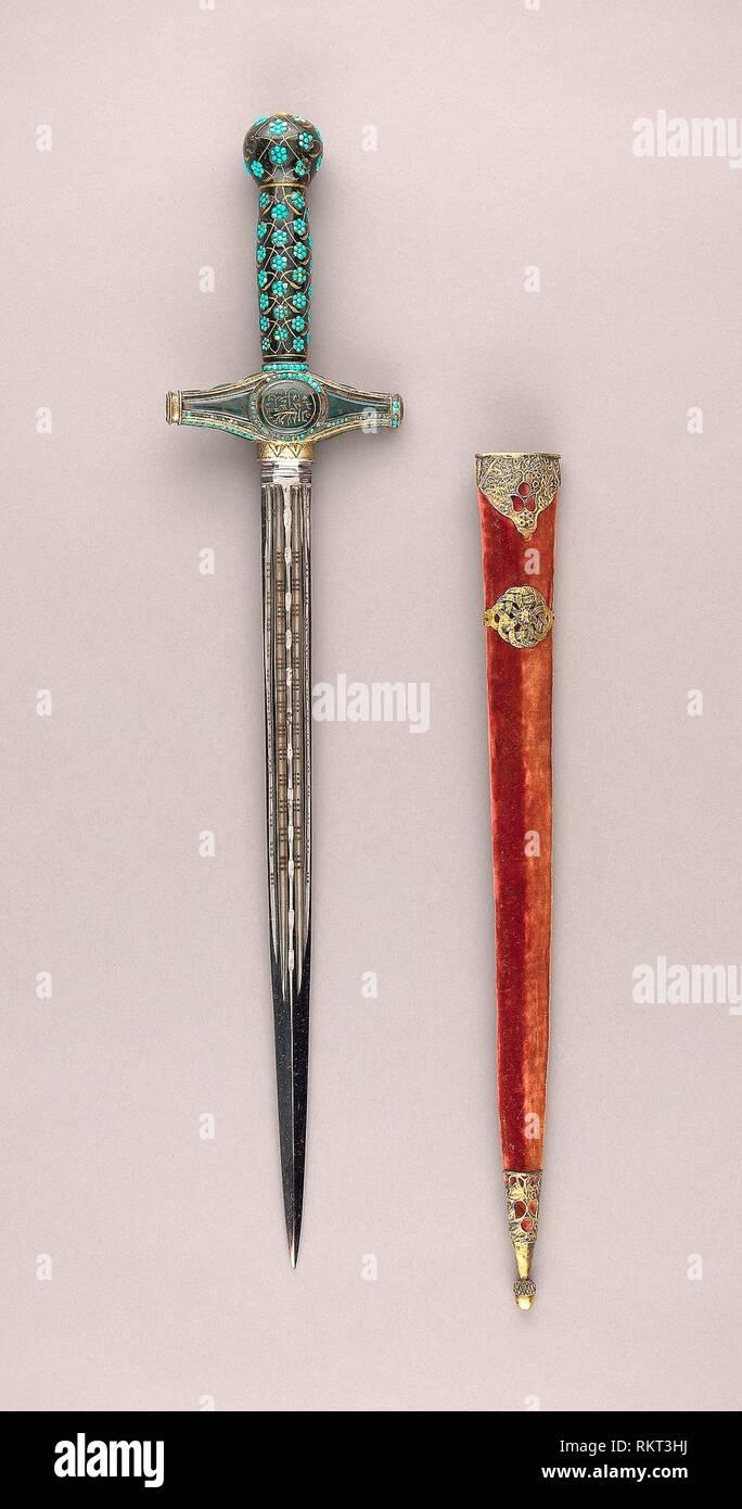 Composite Dagger - Grip (formally a mirror handle): Turkish, 16th century Crossguard: Turkish, 19th century Blade: European, probablly Spanish, late - Stock Image
