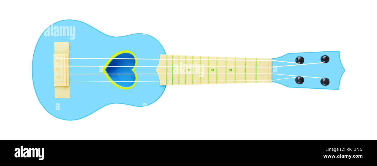 Musical instrument - Front view blue child baby ukulele acoustic guitar isolated on a white background. - Stock Image