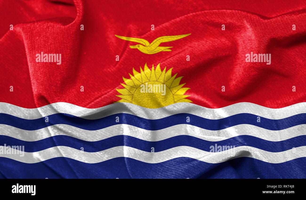 Realistic flag of Kiribati on the wavy surface of fabric - Stock Image