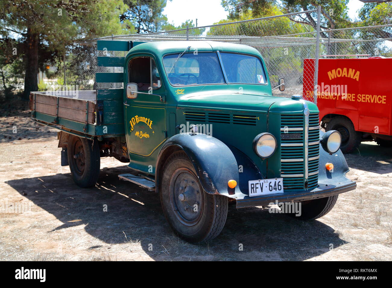Bedford flat-bed truck at the Power Rally at Port Milang, South Australia - Stock Image