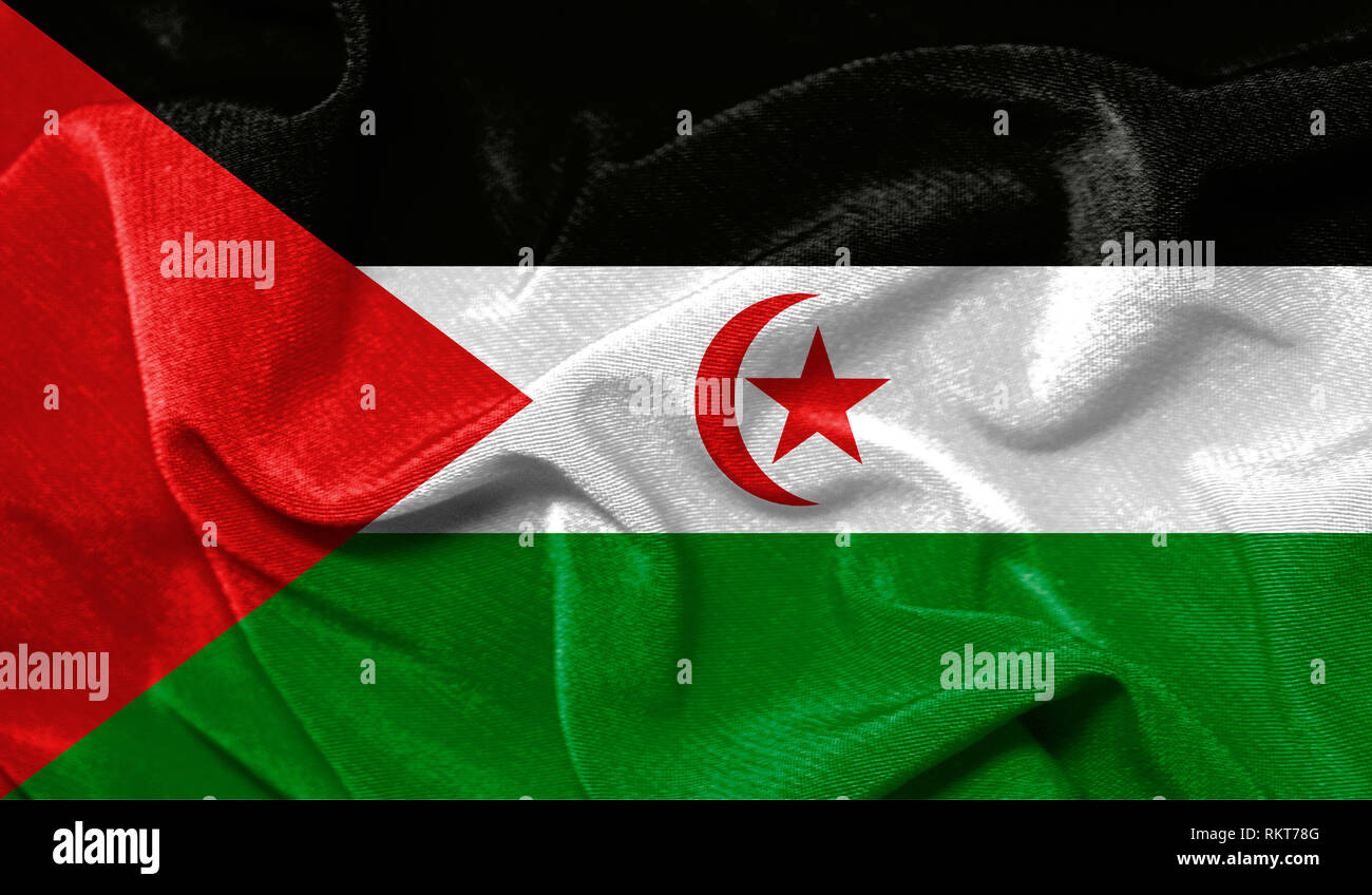 Realistic flag of Western Sahara on the wavy surface of fabric - Stock Image
