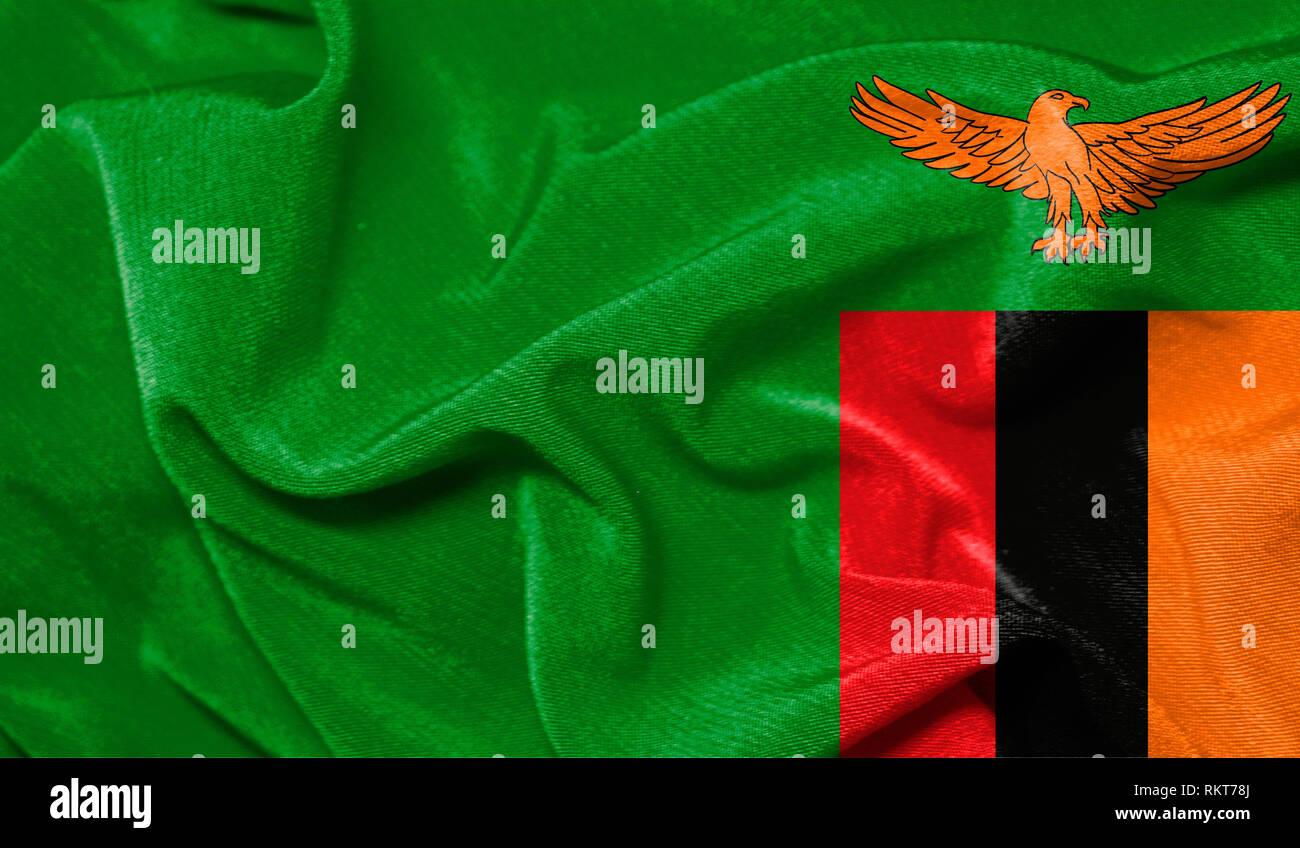 Zambia Waving Flag Stock Photos & Zambia Waving Flag Stock Images
