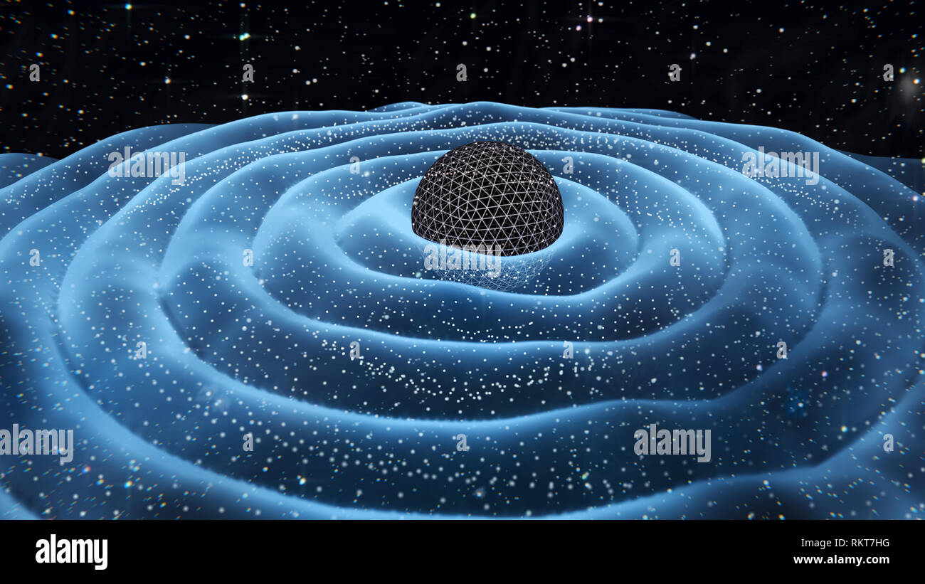 Gravitation waves around black hole in space 3D illustration - Stock Image