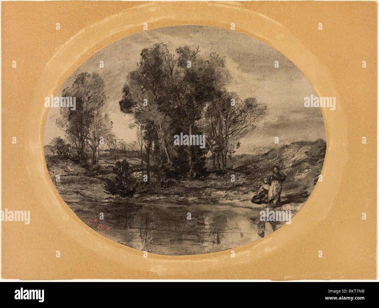Figures by a Pond - 1855/60 - Henri Joseph Constant Dutilleux French, 1807-1865 - Artist: Henri Joseph Constant Dutilleux, Origin: France, Date: - Stock Image