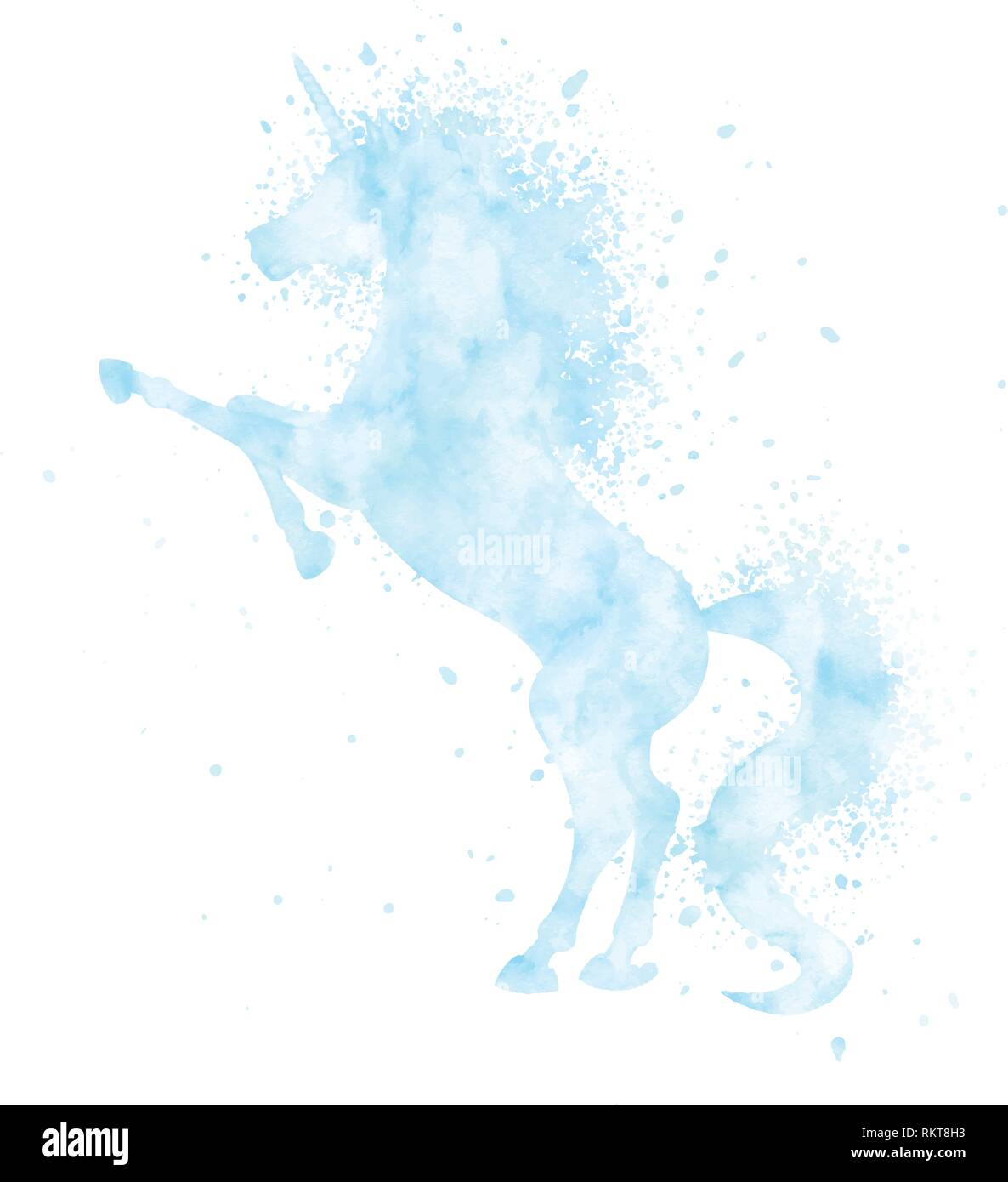 Watercolor Unicorn Silhouette Painting With Splatter Isolated On White Background Blue Magic Creature Vector Illustration Stock Vector Image Art Alamy