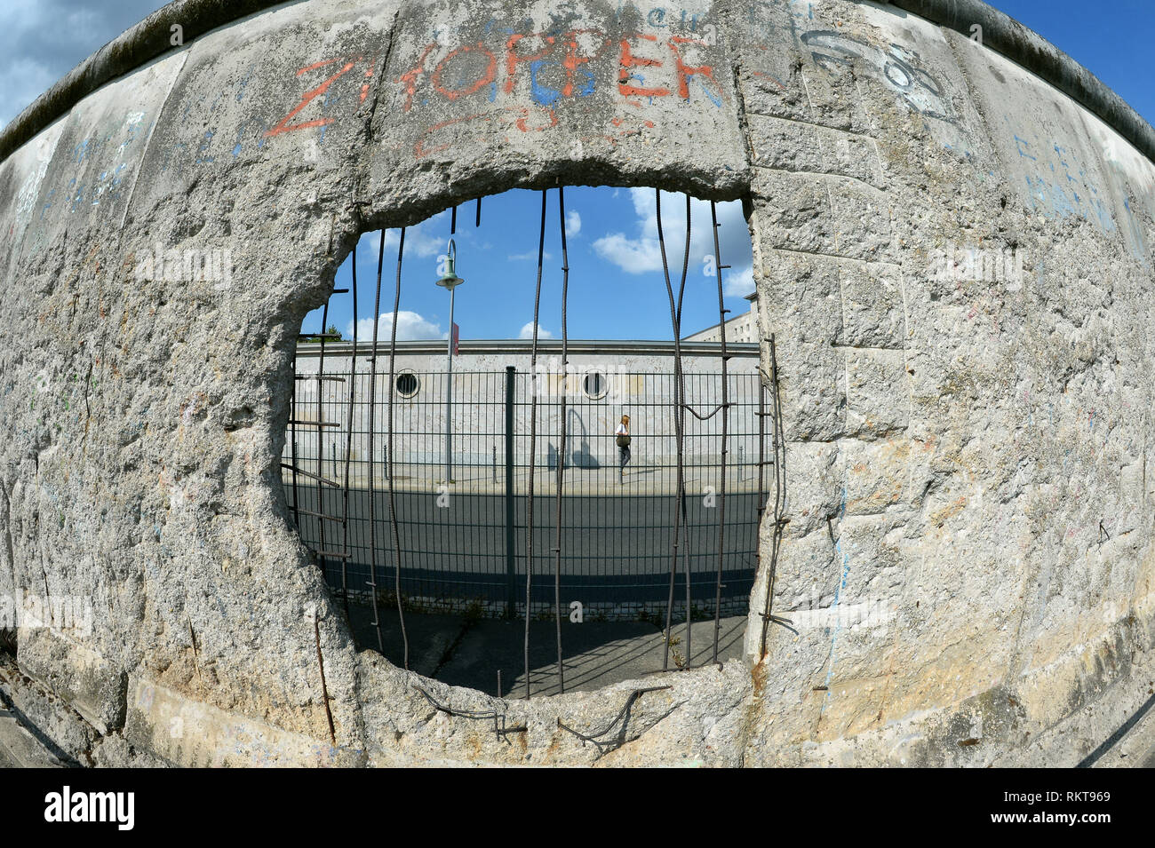Berlin Wall, part of the documentation centre Topography of Terror on Niederkirchnerstrasse, Europe, Germany, Berlin. - Stock Image