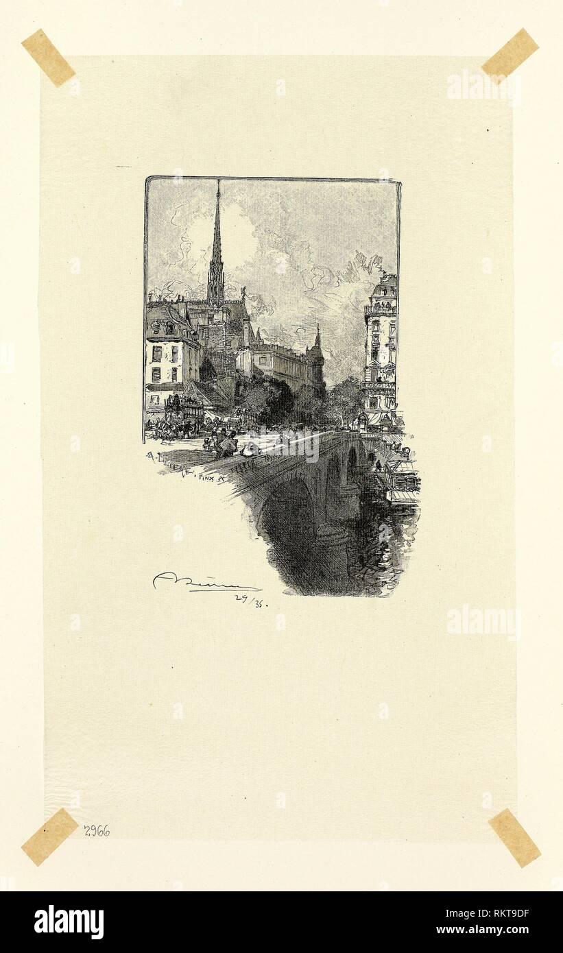Le Pont Saint-Michel, plate twelve from Le Long de la Seine et des Boulevards - 1890, published 1910 - Louis Auguste Lepère (French, 1849-1918) - Stock Image
