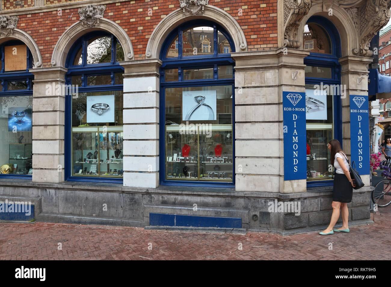 AMSTERDAM, NETHERLANDS - JULY 8, 2017: Diamond shop of Koh-I-Noor Diamonds in Amsterdam, Netherlands. Amsterdam has a long history of diamond trade an - Stock Image