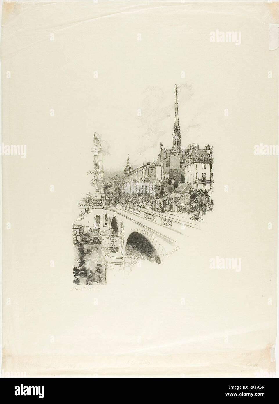 Le Pont Saint-Michel - 1890 - Louis Auguste Lepère French, 1849-1918 - Artist: Louis Auguste Lepère, Origin: France, Date: 1890, Medium: Wood - Stock Image