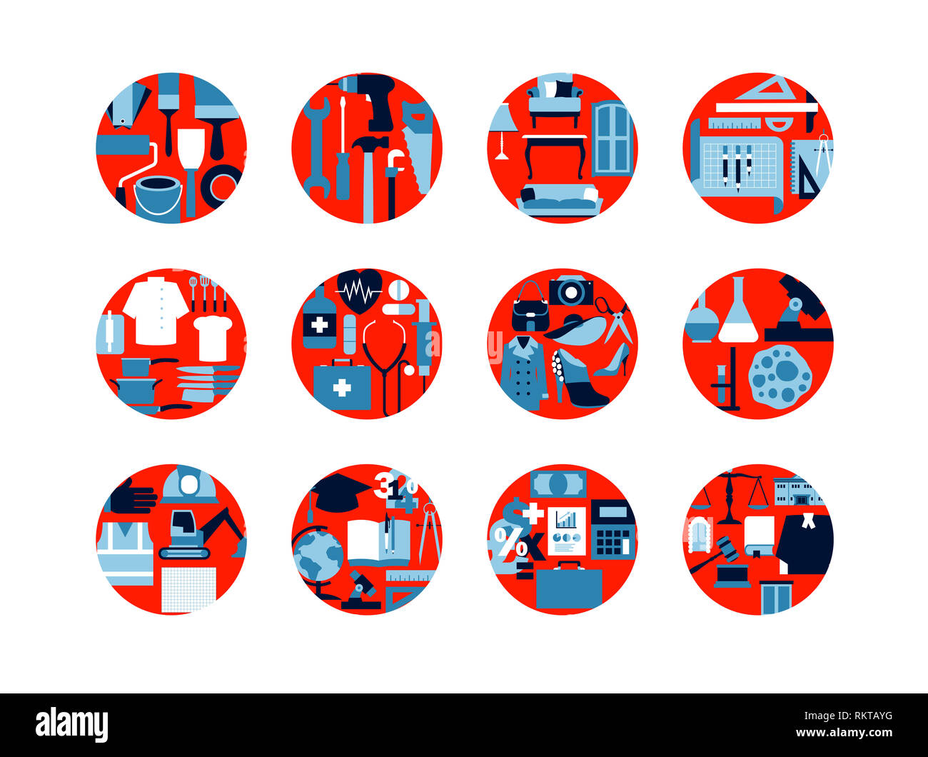 Rows of circles representing different industries - Stock Image