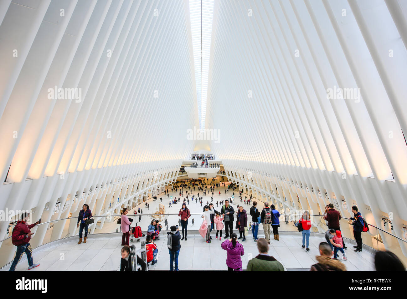 New York City, New York, United States of America - People in the Oculus, main hall of the subway station with shopping mall, World Trade Center, Tran Stock Photo