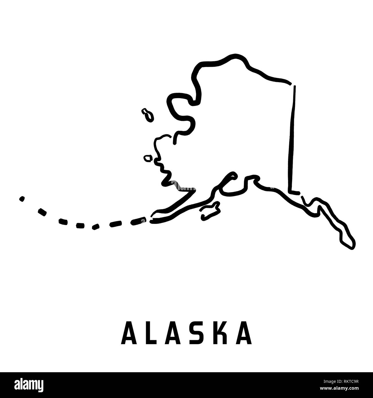 Alaska Simple Logo State Map Outline Smooth Simplified Us State - Simple-map-of-us