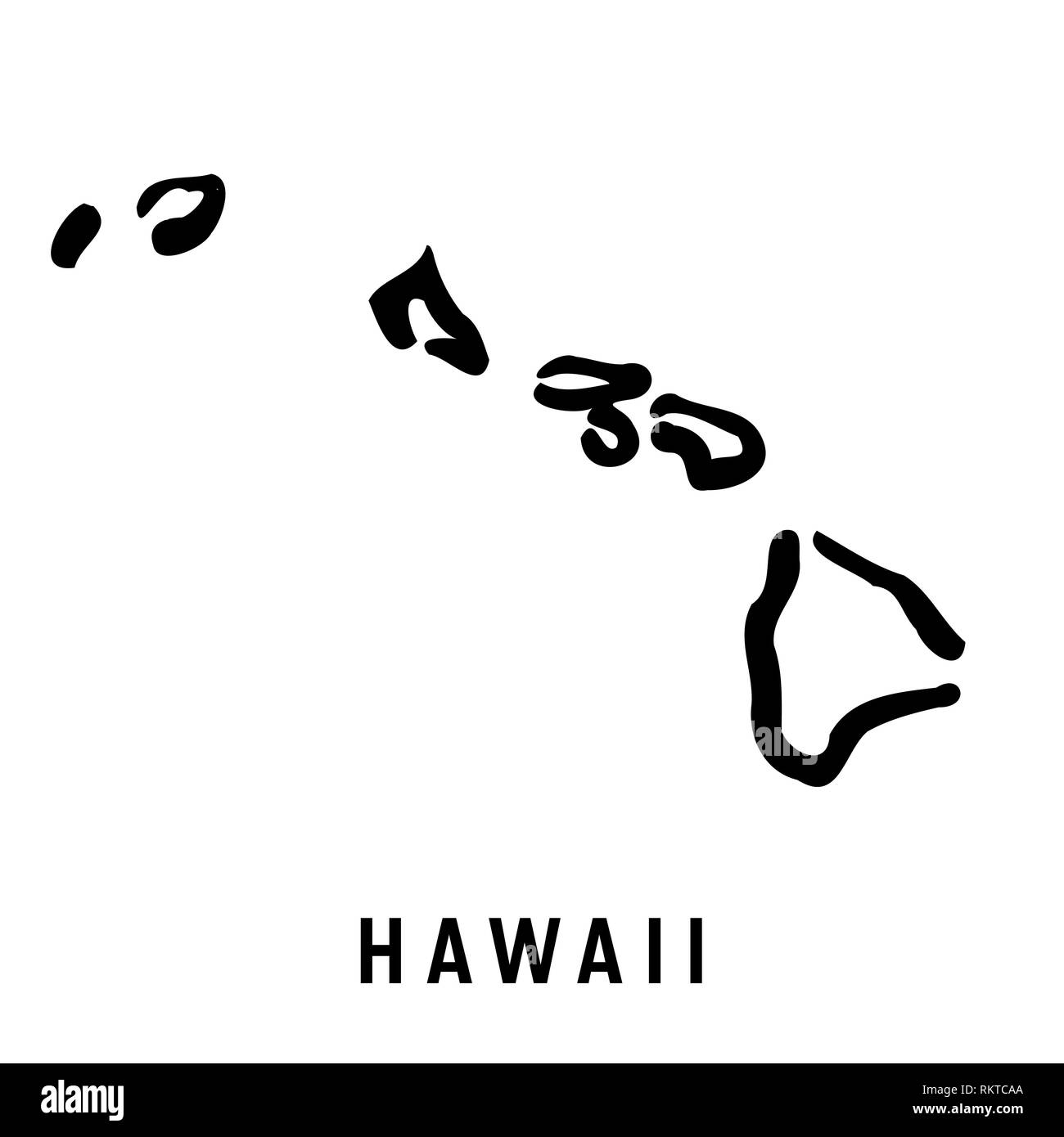 U S State Map Vector.Hawaii Simple Logo State Map Outline Smooth Simplified Us State