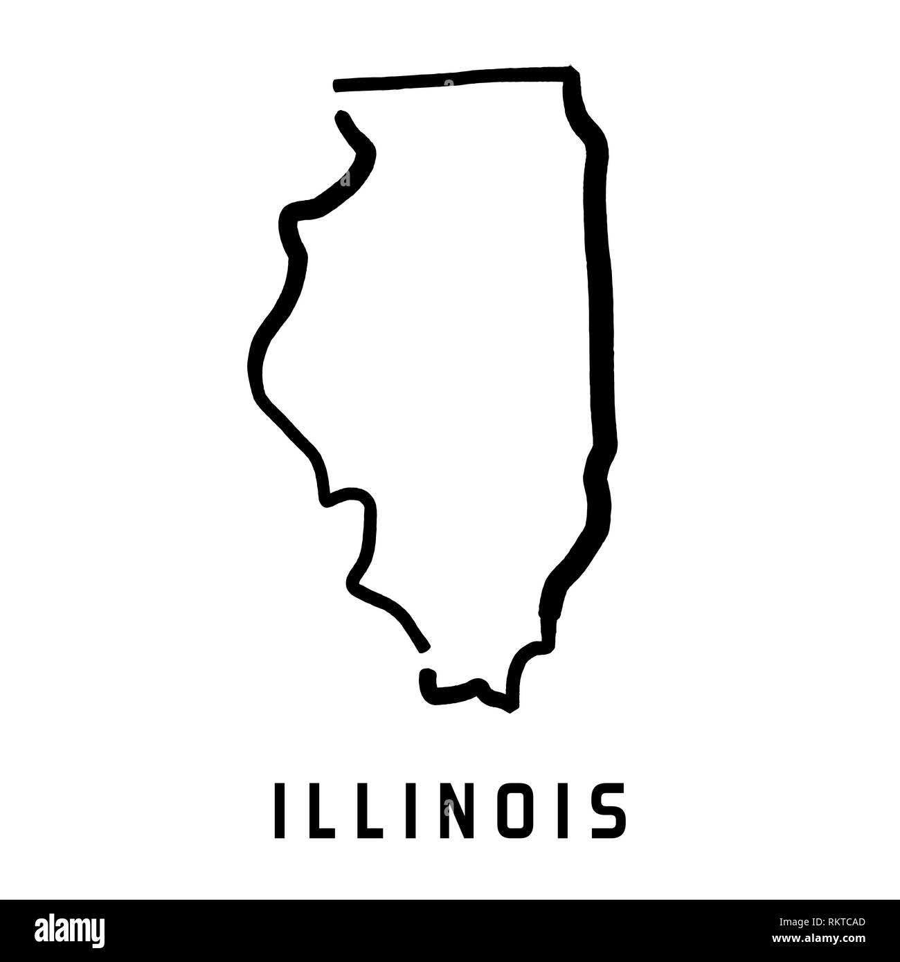 U S State Map Vector.Illinois Simple Logo State Map Outline Smooth Simplified Us State