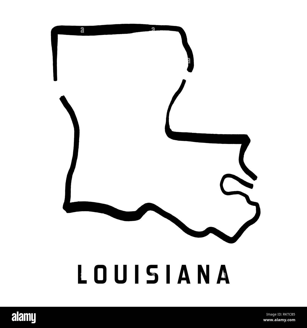 Louisiana Simple Logo State Map Outline Smooth Simplified Us