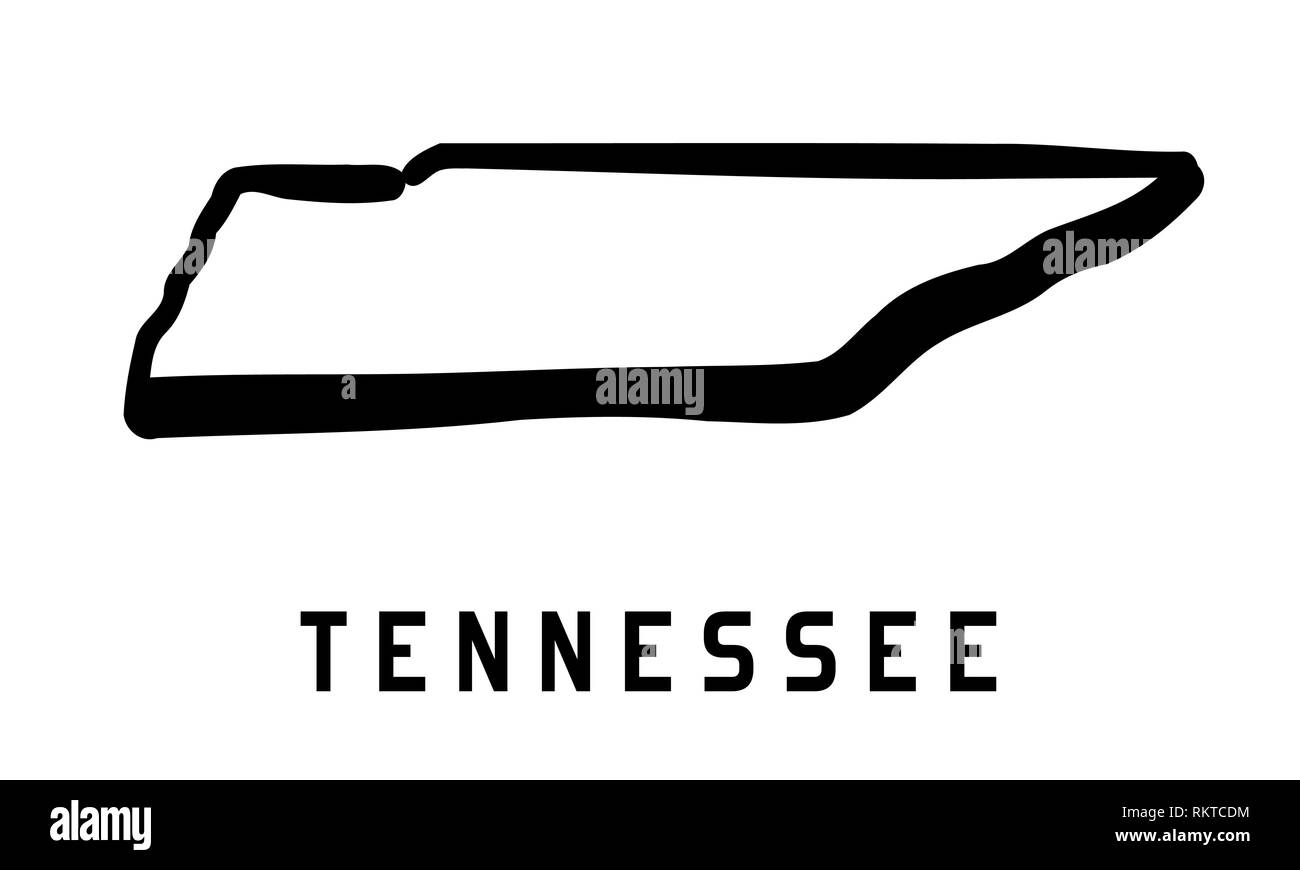 Tennessee Simple Logo State Map Outline Smooth Simplified Us - Us-map-logo