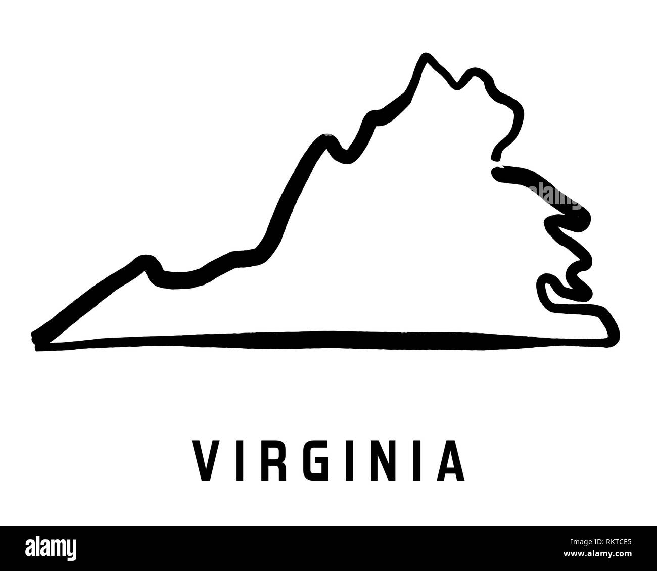 Virginia Simple Logo State Map Outline Smooth Simplified Us State - Us-map-logo
