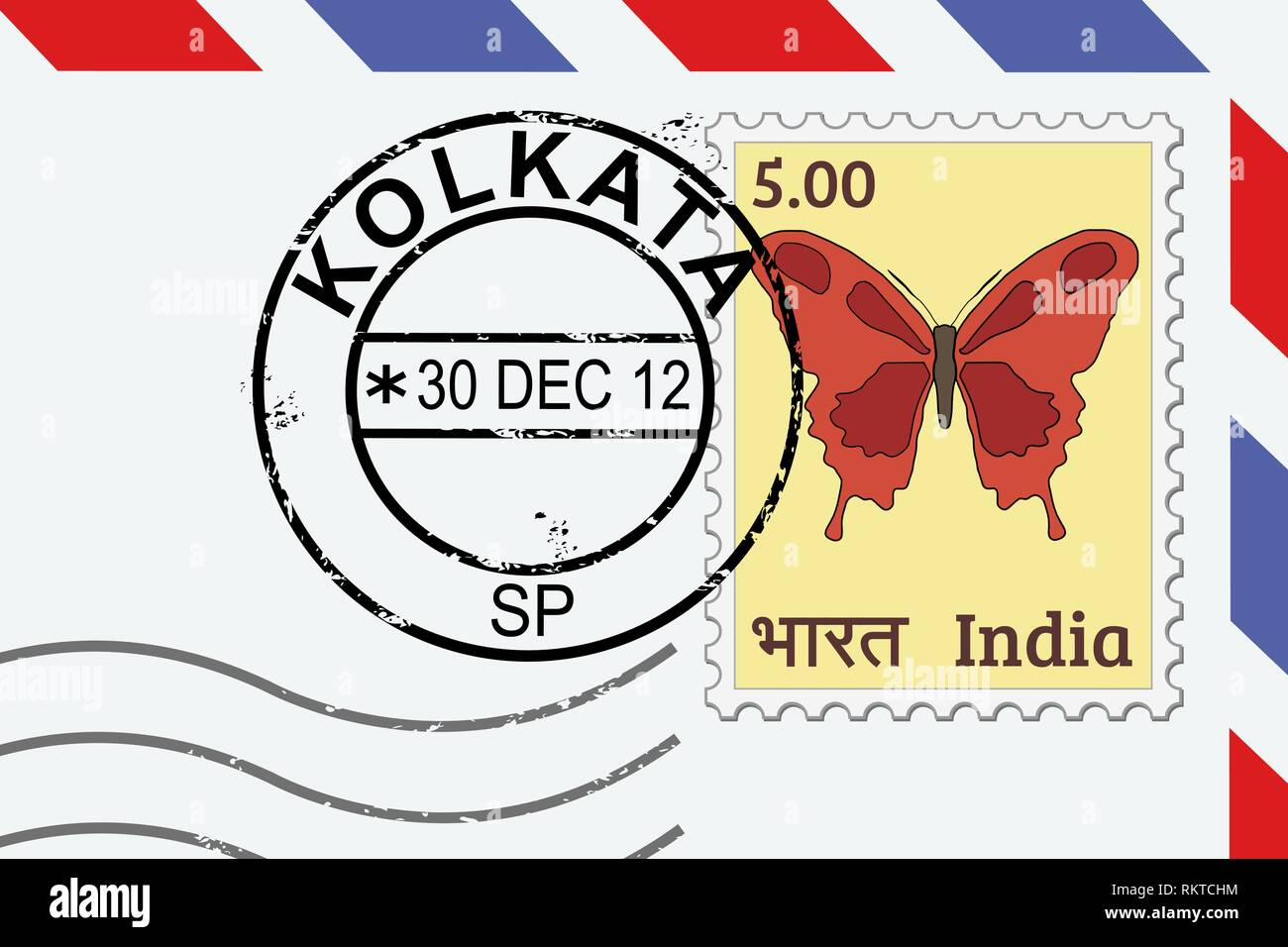 Kolkata (city known as Calcutta) postage stamp - India post stamp on a lettern. - Stock Vector