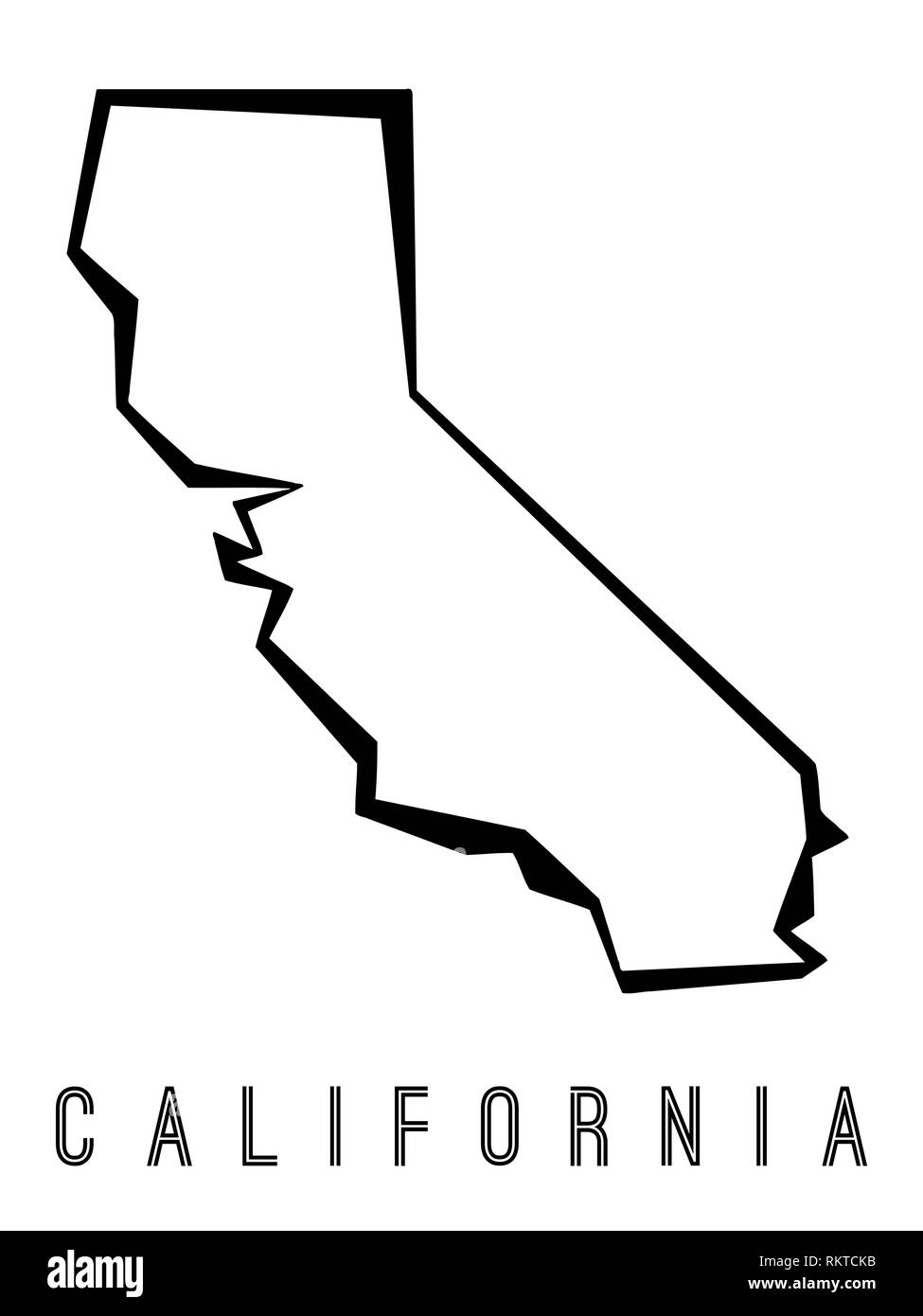 California Map Outline Us State Shape Sharp Polygonal Geometric