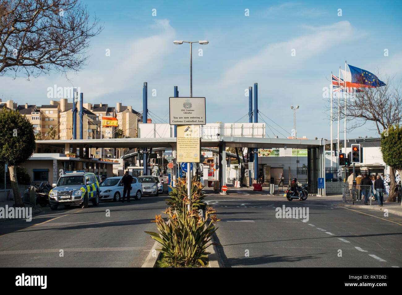 The border crossing between Spain and Gibraltar, as seen from the Gibraltarian side entering Spain - Stock Image