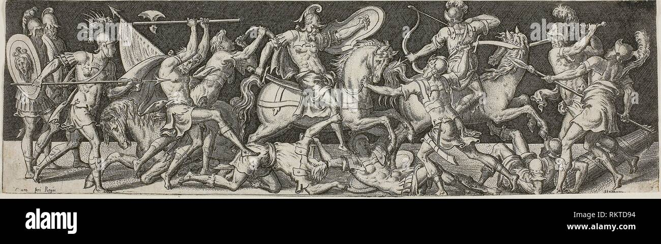 Cavalry and Footsoldiers - 1550/1572 - Etienne Delaune French, c. 1519-1583 - Artist: Étienne Delaune, Origin: France, Date: 1540–1583, Medium: - Stock Image