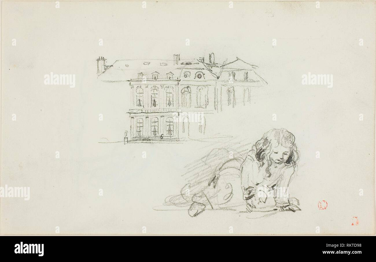 Sketches: The Hotel de Ville, Tours and a Girl Playing